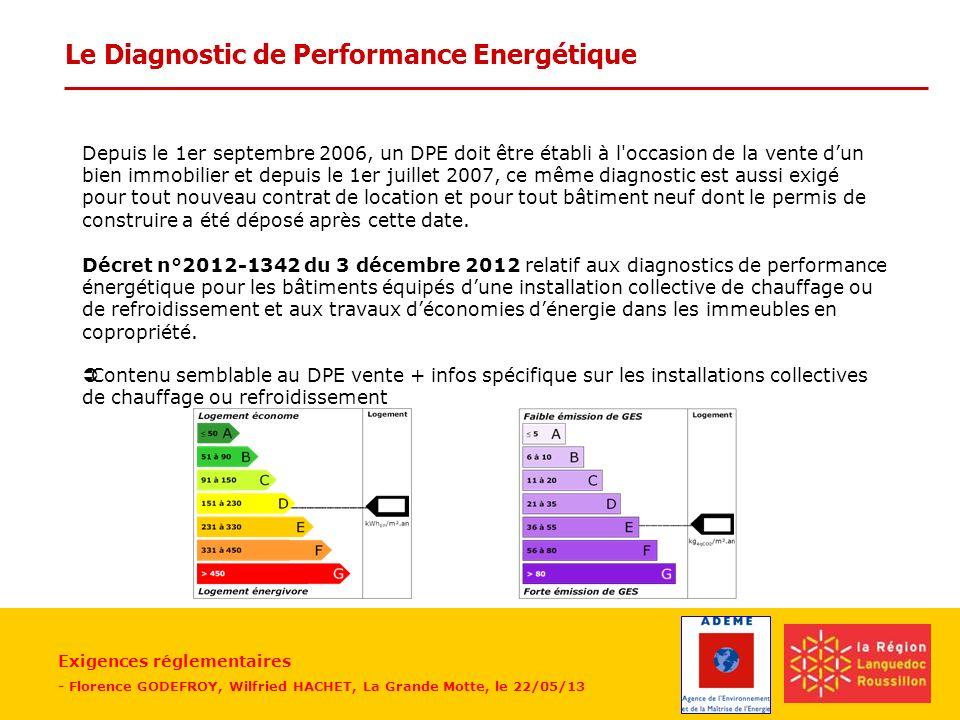 Exigences réglementaires - Florence GODEFROY, Wilfried HACHET, La Grande Motte, le 22/05/13 Le Diagnostic de Performance Energétique Depuis le 1er sep