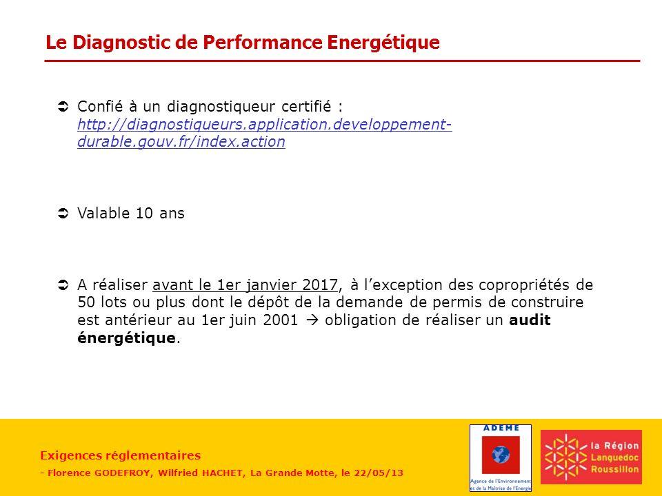 Exigences réglementaires - Florence GODEFROY, Wilfried HACHET, La Grande Motte, le 22/05/13 Le Diagnostic de Performance Energétique ÜConfié à un diag
