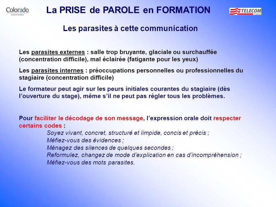 Les parasites à cette communication La PRISE de PAROLE en FORMATION Les parasites externes : salle trop bruyante, glaciale ou surchauffée (concentrati