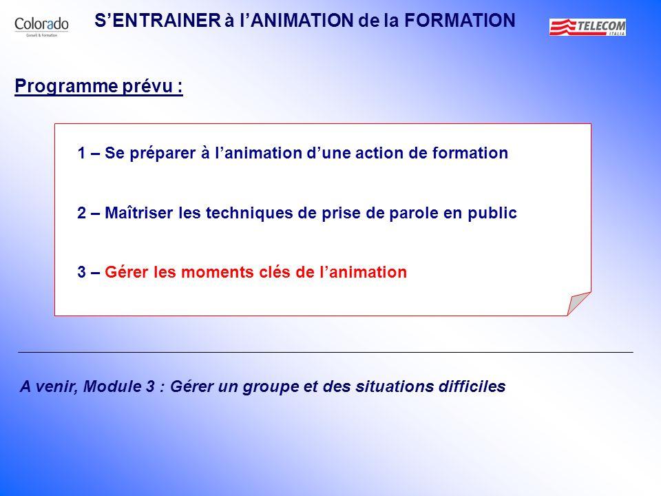SENTRAINER à lANIMATION de la FORMATION 1 – Se préparer à lanimation dune action de formation 2 – Maîtriser les techniques de prise de parole en publi