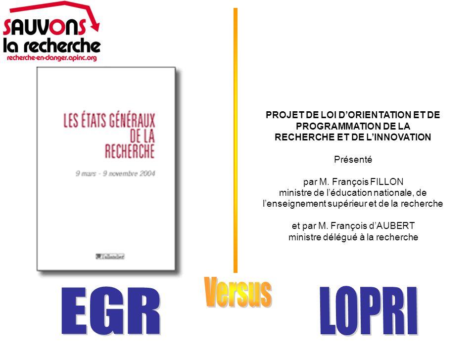 PROJET DE LOI DORIENTATION ET DE PROGRAMMATION DE LA RECHERCHE ET DE LINNOVATION Présenté par M.