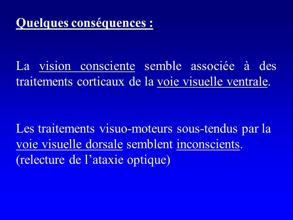 Quelques conséquences : La vision consciente semble associée à des traitements corticaux de la voie visuelle ventrale. Les traitements visuo-moteurs s