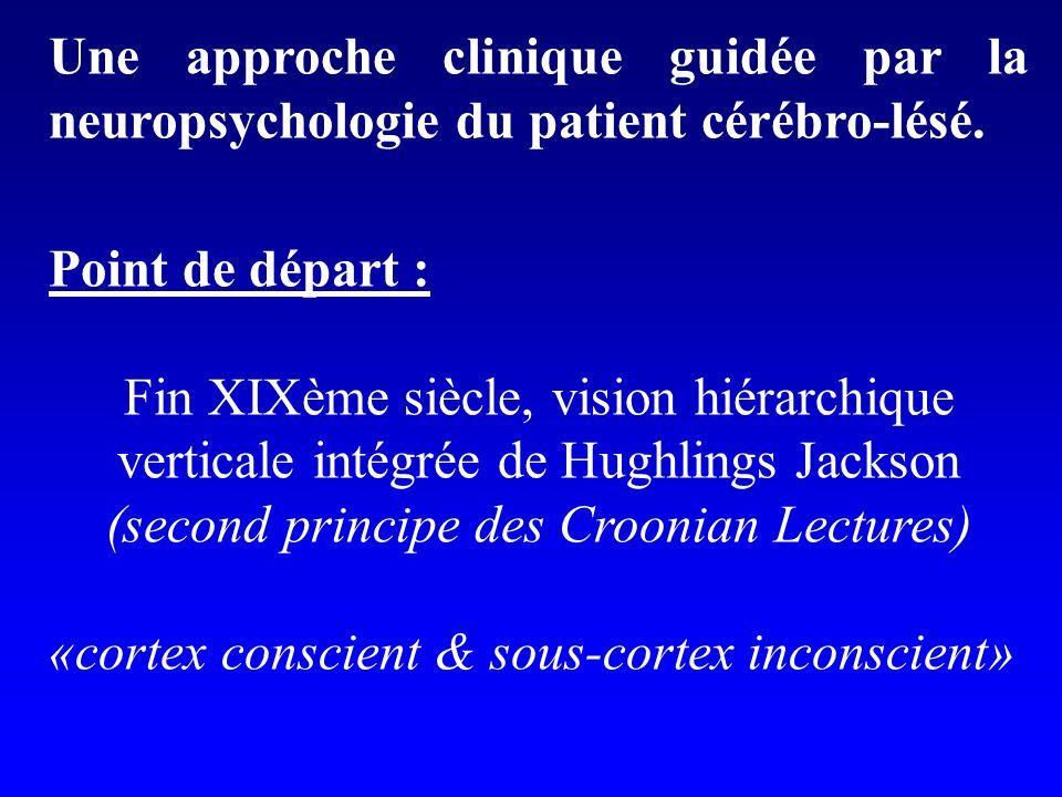 Une approche clinique guidée par la neuropsychologie du patient cérébro-lésé. Point de départ : Fin XIXème siècle, vision hiérarchique verticale intég