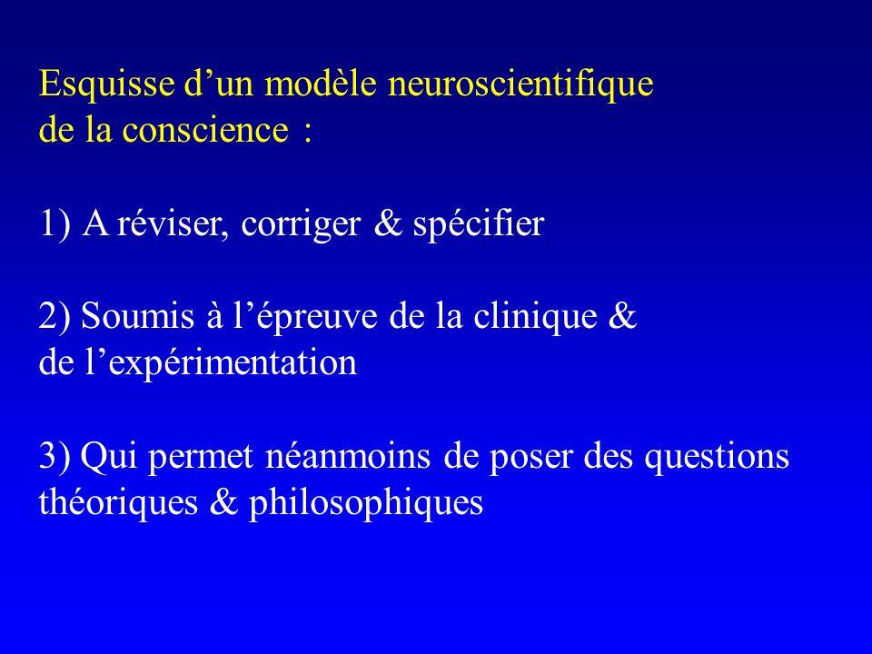 Esquisse dun modèle neuroscientifique de la conscience : 1)A réviser, corriger & spécifier 2) Soumis à lépreuve de la clinique & de lexpérimentation 3