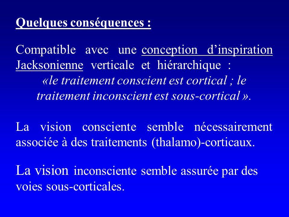 Quelques conséquences : Compatible avec une conception dinspiration Jacksonienne verticale et hiérarchique : «le traitement conscient est cortical ; l