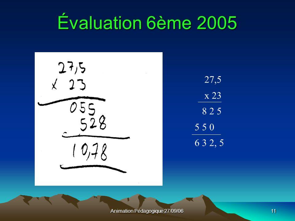 Animation Pédagogique 27/09/0611 Évaluation 6ème 2005 27,5 x 23 8 2 5 5 5 0 6 3 2, 5