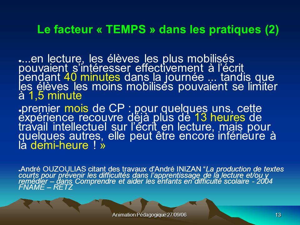 Animation Pédagogique 27/09/0613 Le facteur « TEMPS » dans les pratiques (2)...en lecture, les élèves les plus mobilisés pouvaient sintéresser effectivement à lécrit pendant 40 minutes dans la journée...