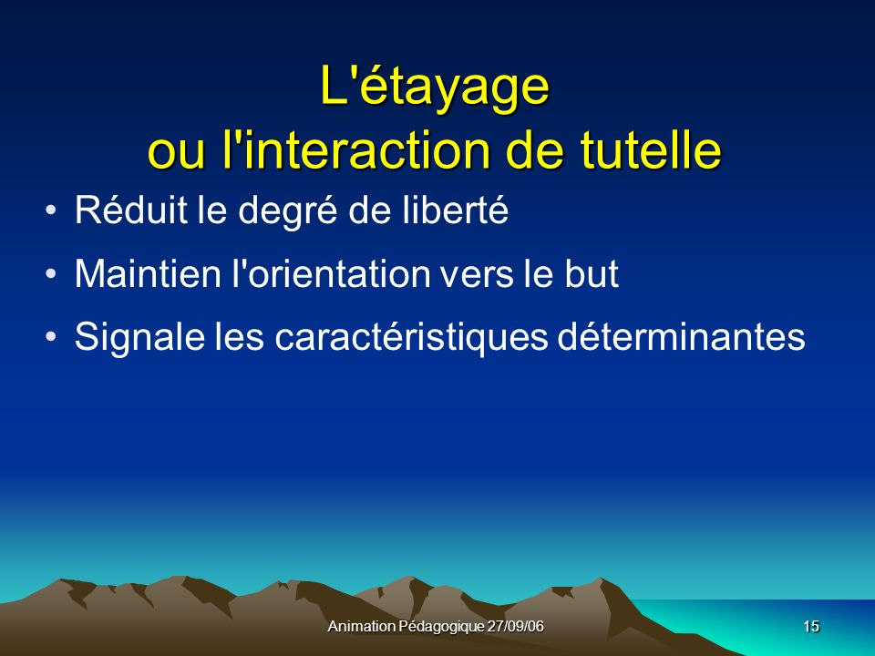 Animation Pédagogique 27/09/0615 L étayage ou l interaction de tutelle Réduit le degré de liberté Maintien l orientation vers le but Signale les caractéristiques déterminantes
