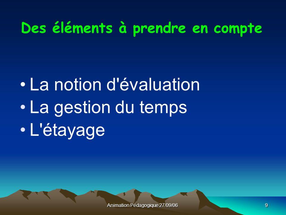 Animation Pédagogique 27/09/069 Des éléments à prendre en compte La notion d évaluation La gestion du temps L étayage
