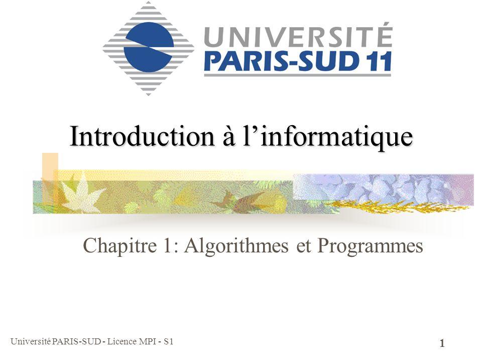 Université PARIS-SUD - Licence MPI - S1 12 Variables : codage des données Soit n1, n2, n3,…n17 les 17 notes dun étudiant Soit r le nombre de redoublements (0 si aucun) Soit sma une variable qui vaut vrai si létudiant suit des cours danglais facultatifs et faux sinon (n1+2*n2) / 3 sa moyenne de module m1 … Soit lps une liste de poursuite détude possible Pour chaque poursuite détude considérons les conditions dadmission (m1>12) et le nb max… Soit d le désir de létudiant (d=1 il veut faire des math, d=2 de la physique et d=3 de linfo.)