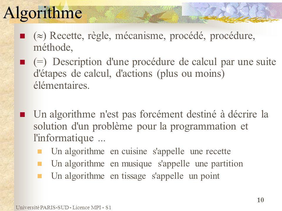 Université PARIS-SUD - Licence MPI - S1 10 ( ) Recette, règle, mécanisme, procédé, procédure, méthode, (=) Description d'une procédure de calcul par u
