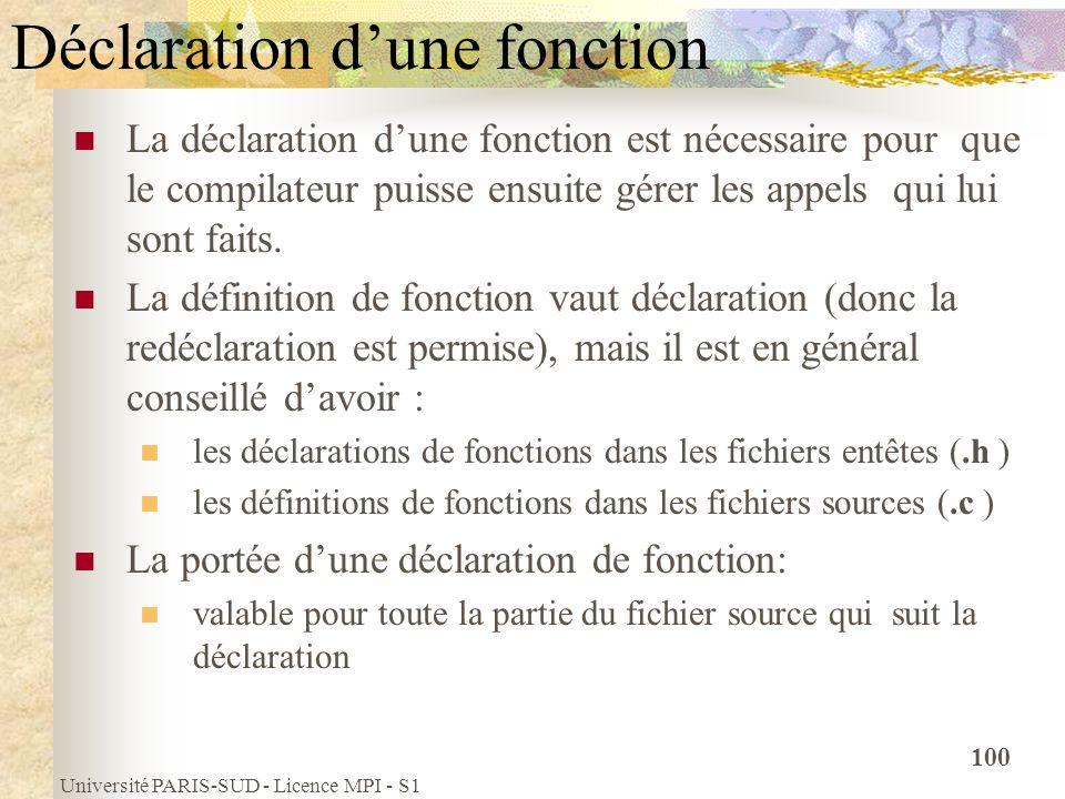 Université PARIS-SUD - Licence MPI - S1 100 Déclaration dune fonction La déclaration dune fonction est nécessaire pour que le compilateur puisse ensui