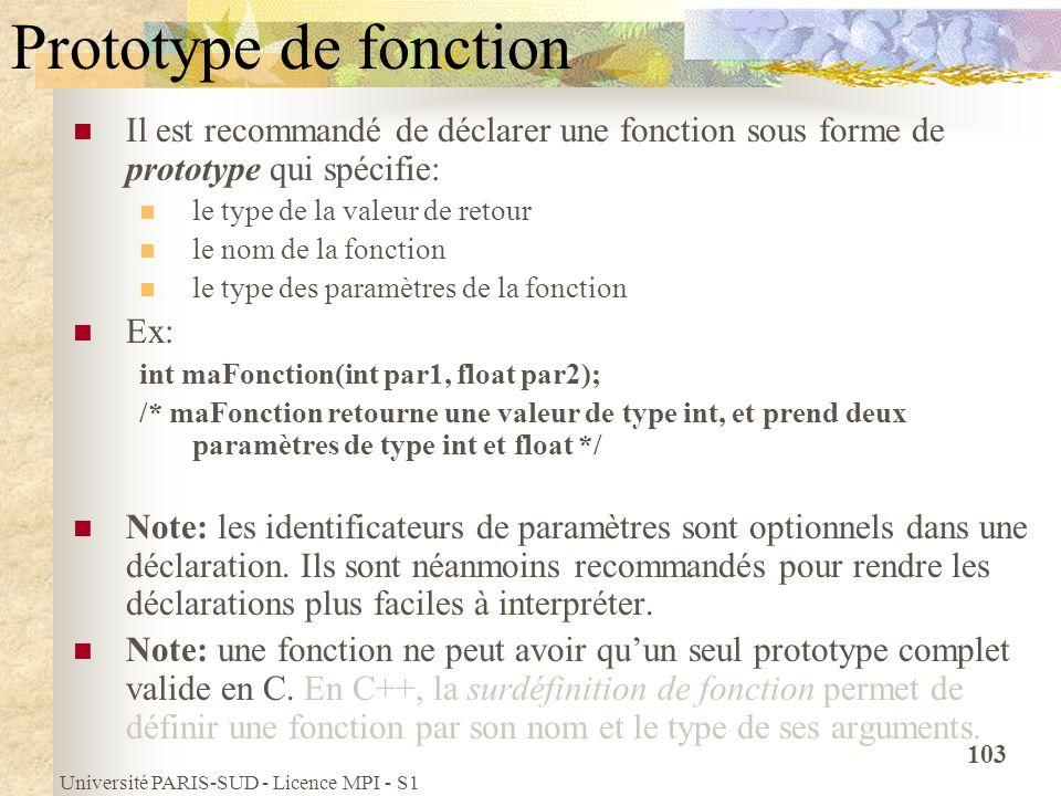 Université PARIS-SUD - Licence MPI - S1 103 Prototype de fonction Il est recommandé de déclarer une fonction sous forme de prototype qui spécifie: le