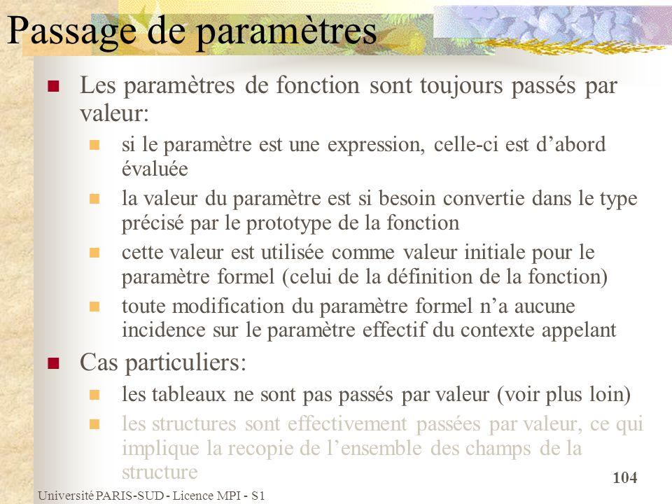Université PARIS-SUD - Licence MPI - S1 104 Passage de paramètres Les paramètres de fonction sont toujours passés par valeur: si le paramètre est une