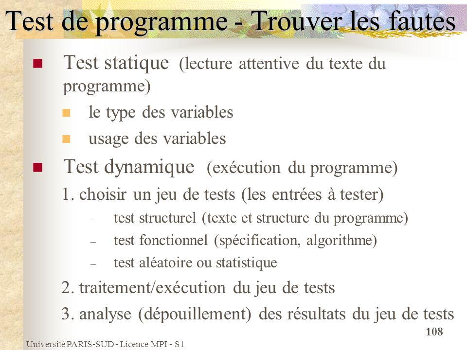 Université PARIS-SUD - Licence MPI - S1 108 Test de programme - Trouver les fautes Test statique (lecture attentive du texte du programme) le type des