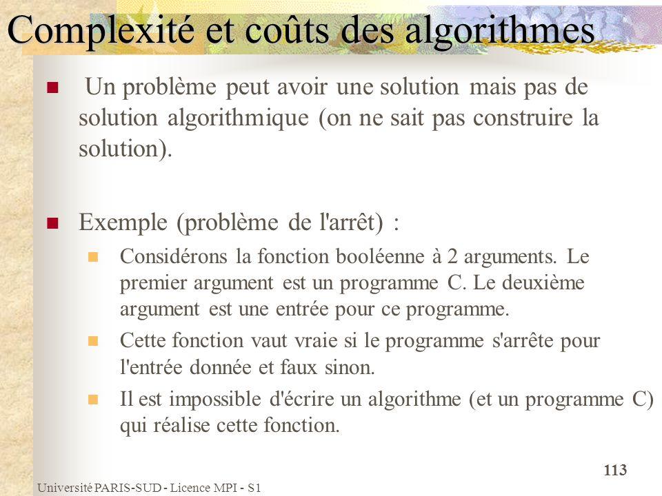 Université PARIS-SUD - Licence MPI - S1 113 Complexité et coûts des algorithmes Un problème peut avoir une solution mais pas de solution algorithmique
