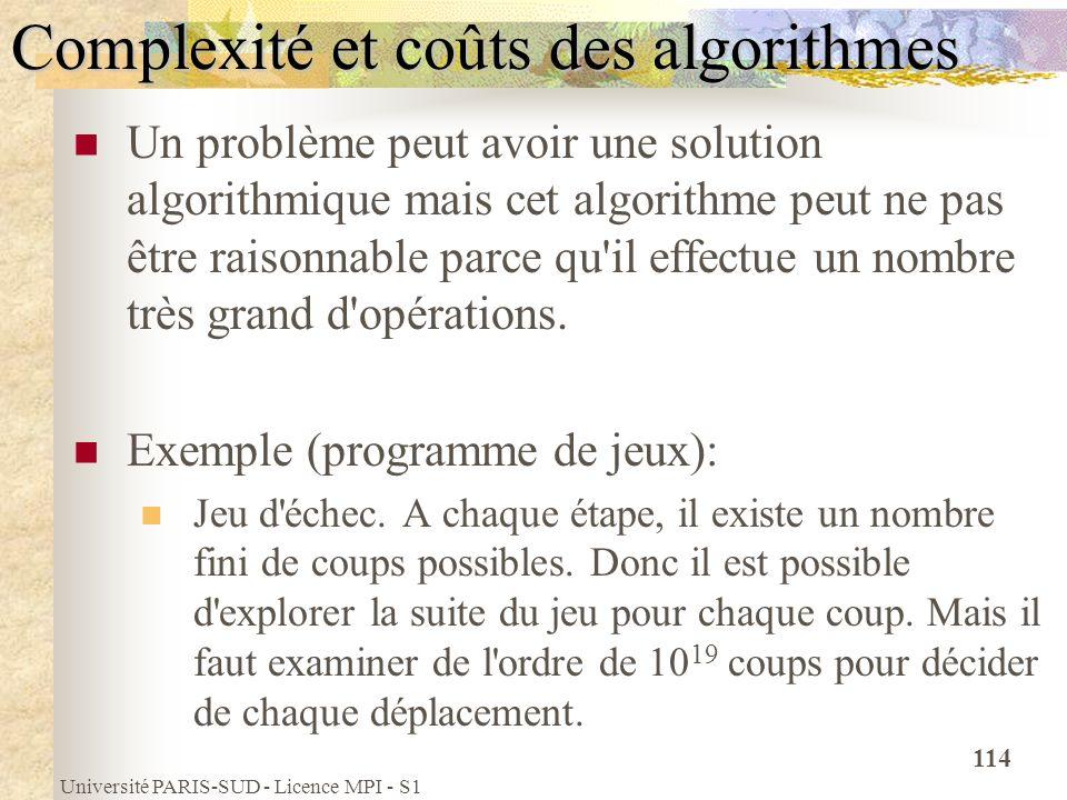 Université PARIS-SUD - Licence MPI - S1 114 Complexité et coûts des algorithmes Un problème peut avoir une solution algorithmique mais cet algorithme