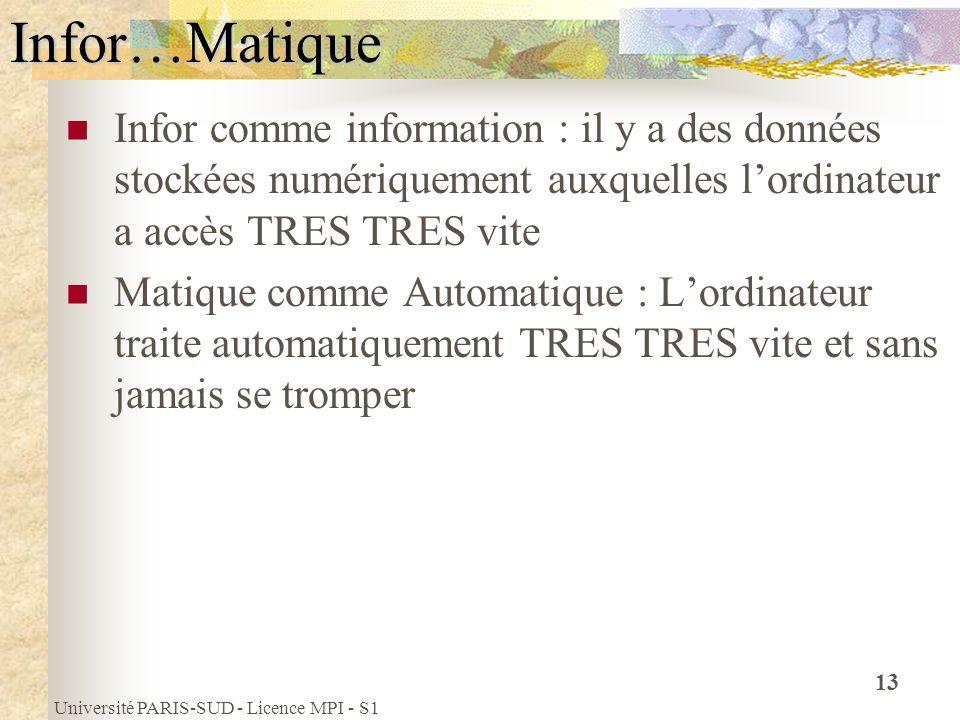 Université PARIS-SUD - Licence MPI - S1 13Infor…Matique Infor comme information : il y a des données stockées numériquement auxquelles lordinateur a a