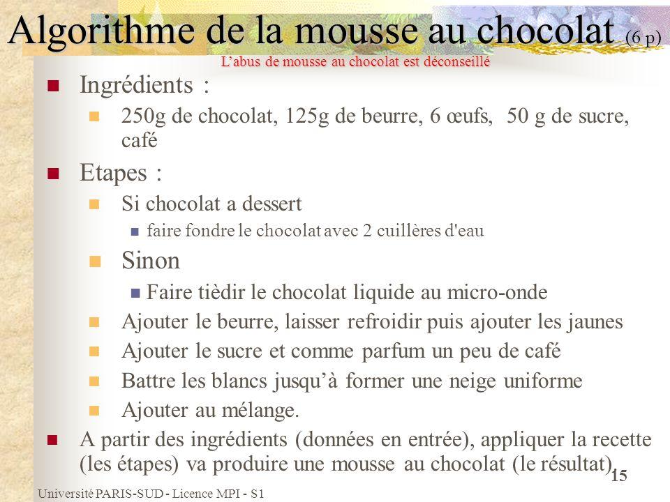 Université PARIS-SUD - Licence MPI - S1 15 Algorithme de la mousse au chocolat (6 p) Ingrédients : 250g de chocolat, 125g de beurre, 6 œufs, 50 g de s