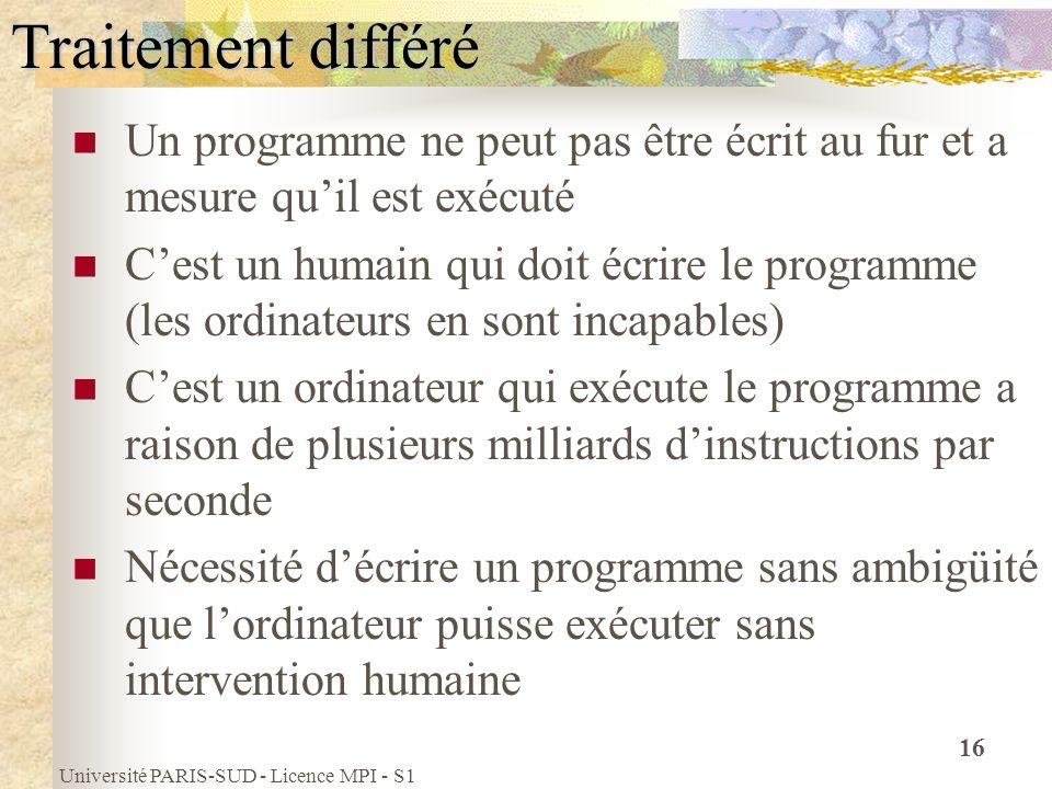 Université PARIS-SUD - Licence MPI - S1 16 Traitement différé Un programme ne peut pas être écrit au fur et a mesure quil est exécuté Cest un humain q