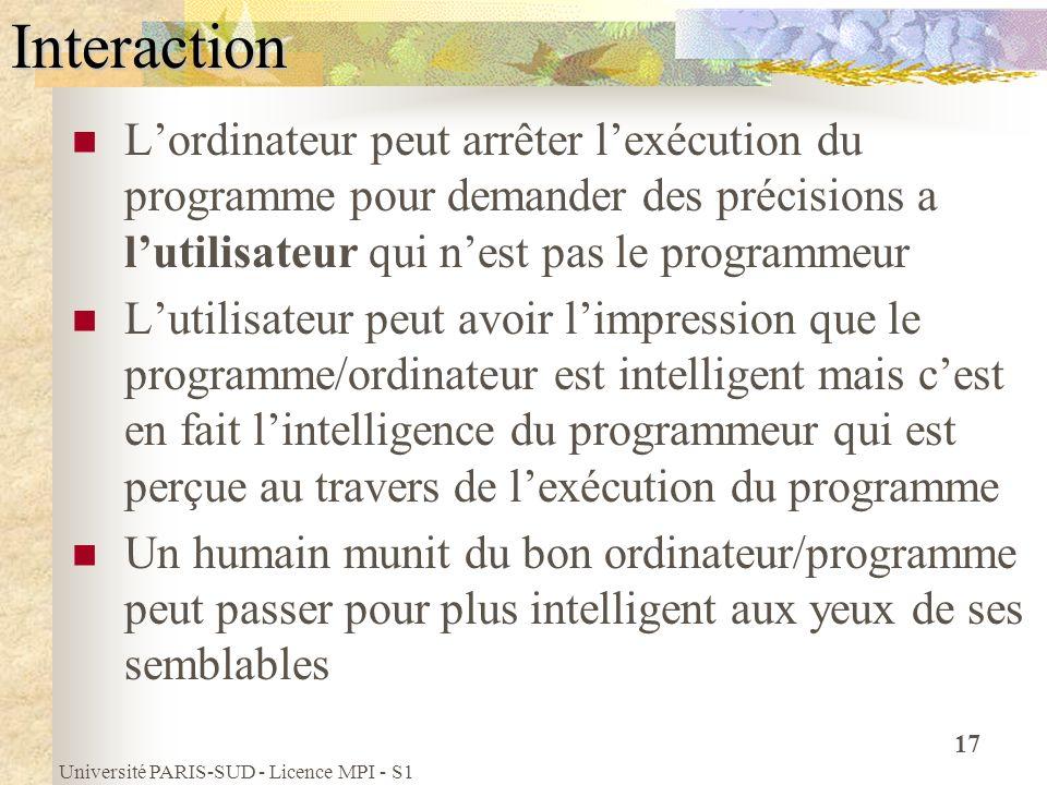 Université PARIS-SUD - Licence MPI - S1 17Interaction Lordinateur peut arrêter lexécution du programme pour demander des précisions a lutilisateur qui