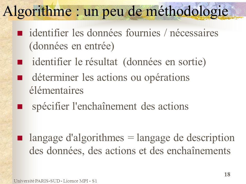 Université PARIS-SUD - Licence MPI - S1 18 Algorithme : un peu de méthodologie identifier les données fournies / nécessaires (données en entrée) ident