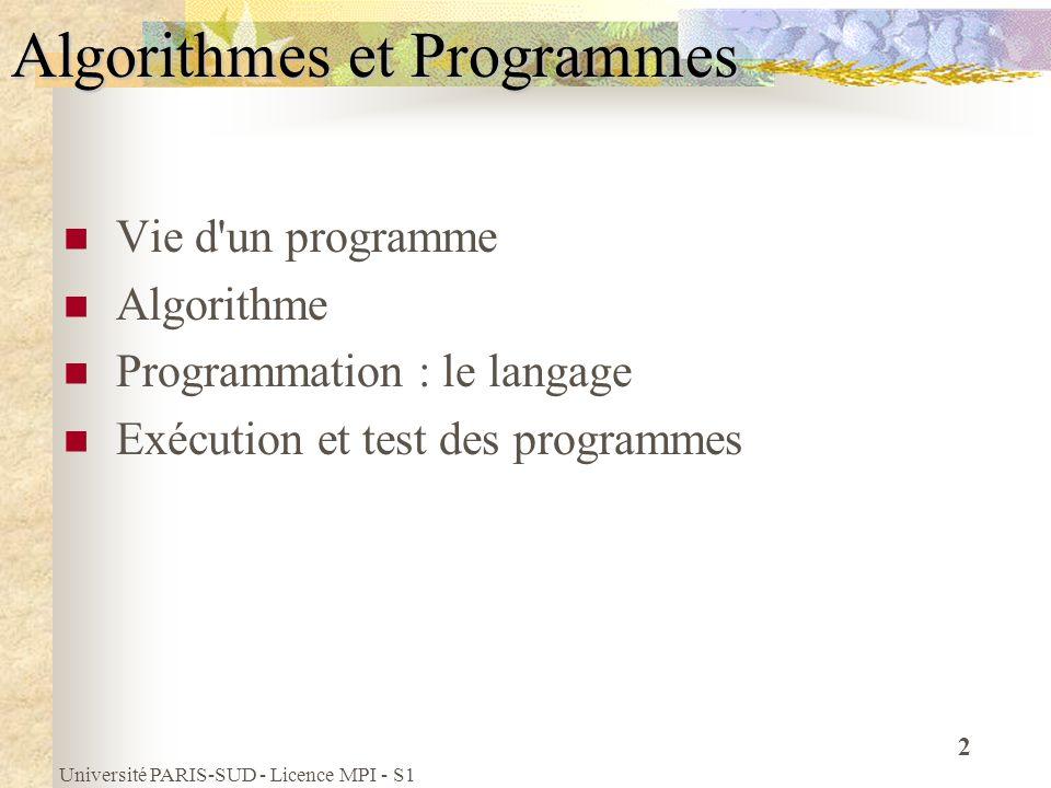 Université PARIS-SUD - Licence MPI - S1 2 Algorithmes et Programmes Vie d'un programme Algorithme Programmation : le langage Exécution et test des pro