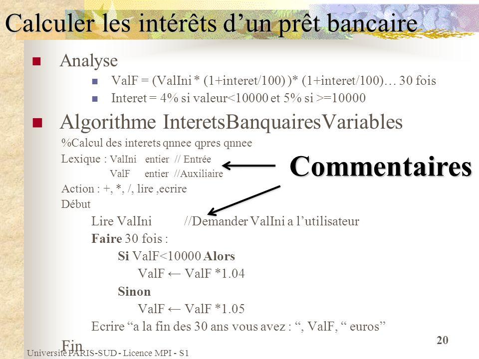 Université PARIS-SUD - Licence MPI - S1 20 Calculer les intérêts dun prêt bancaire Analyse ValF = (ValIni * (1+interet/100) )* (1+interet/100)… 30 foi
