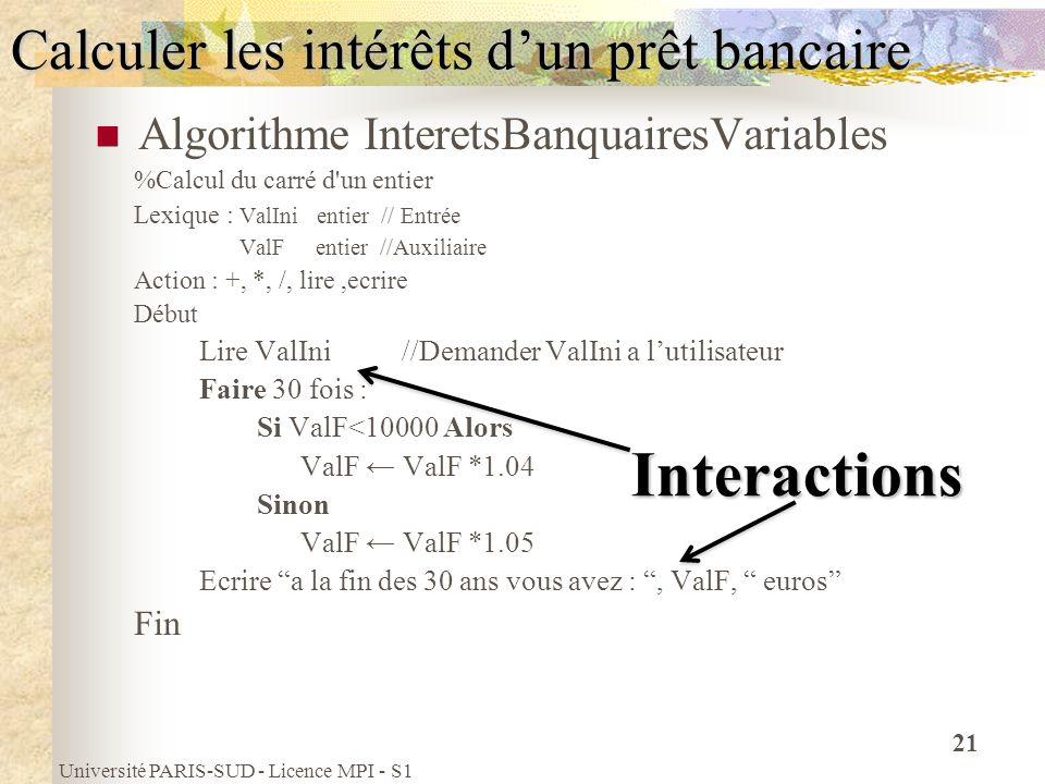 Université PARIS-SUD - Licence MPI - S1 21 Calculer les intérêts dun prêt bancaire Algorithme InteretsBanquairesVariables %Calcul du carré d'un entier