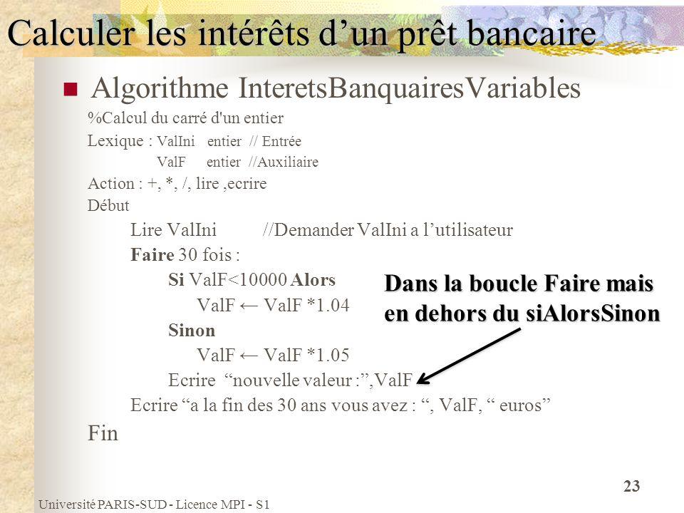 Université PARIS-SUD - Licence MPI - S1 23 Calculer les intérêts dun prêt bancaire Algorithme InteretsBanquairesVariables %Calcul du carré d'un entier