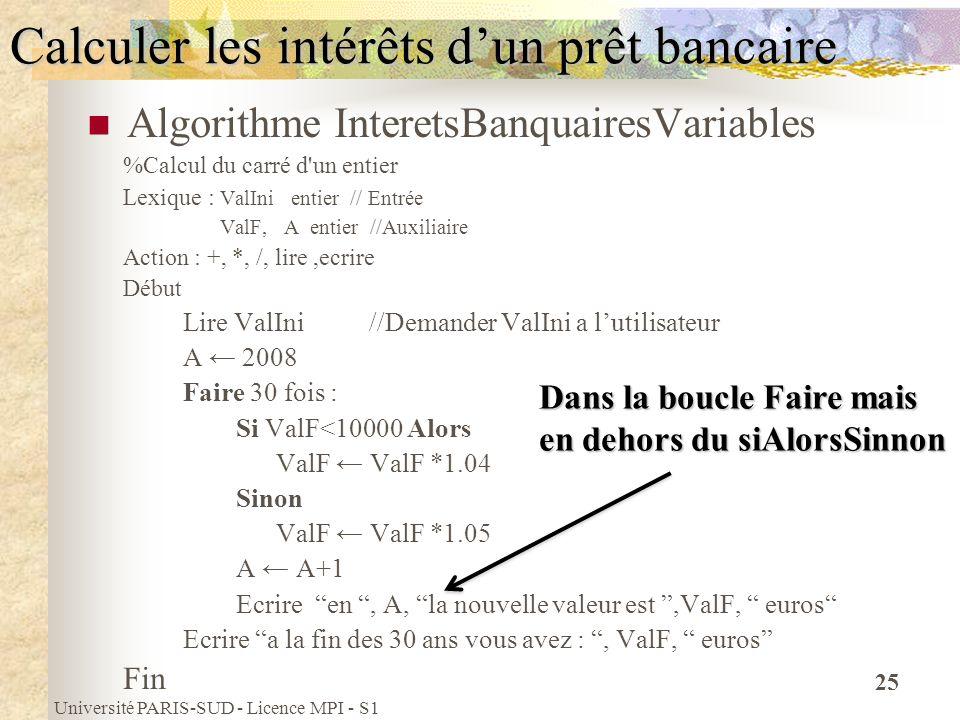 Université PARIS-SUD - Licence MPI - S1 25 Calculer les intérêts dun prêt bancaire Algorithme InteretsBanquairesVariables %Calcul du carré d'un entier