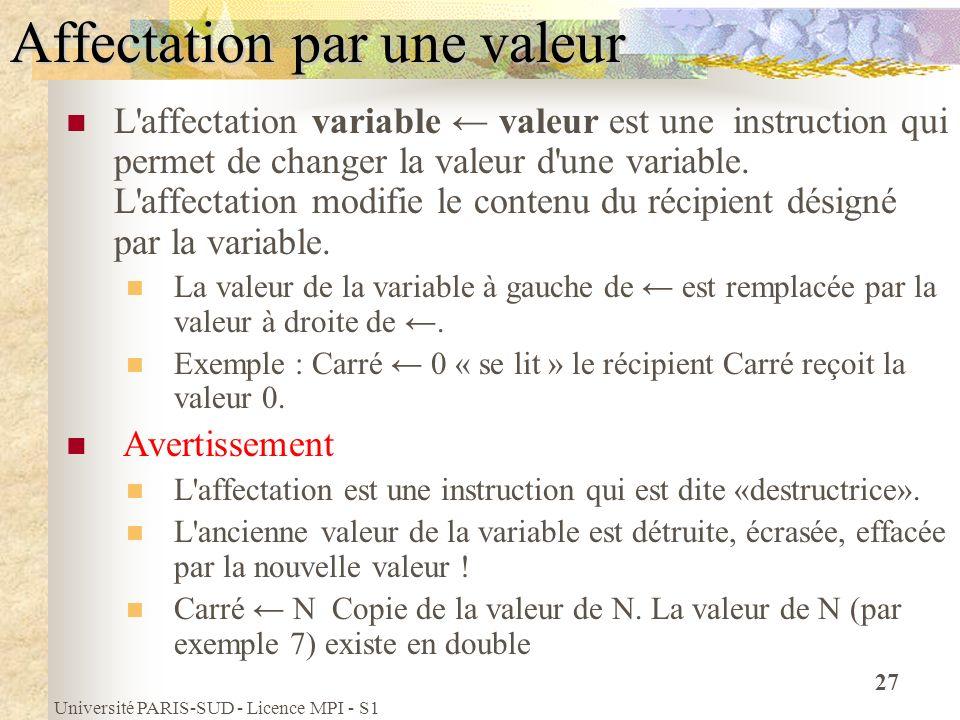 Université PARIS-SUD - Licence MPI - S1 27 Affectation par une valeur L'affectation variable valeur est une instruction qui permet de changer la valeu