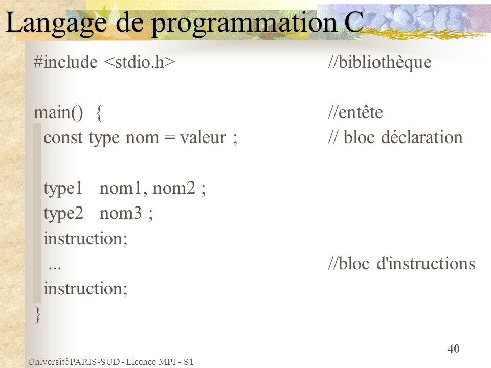 Université PARIS-SUD - Licence MPI - S1 40 Langage de programmation C #include //bibliothèque main() { //entête const type nom = valeur ;// bloc décla