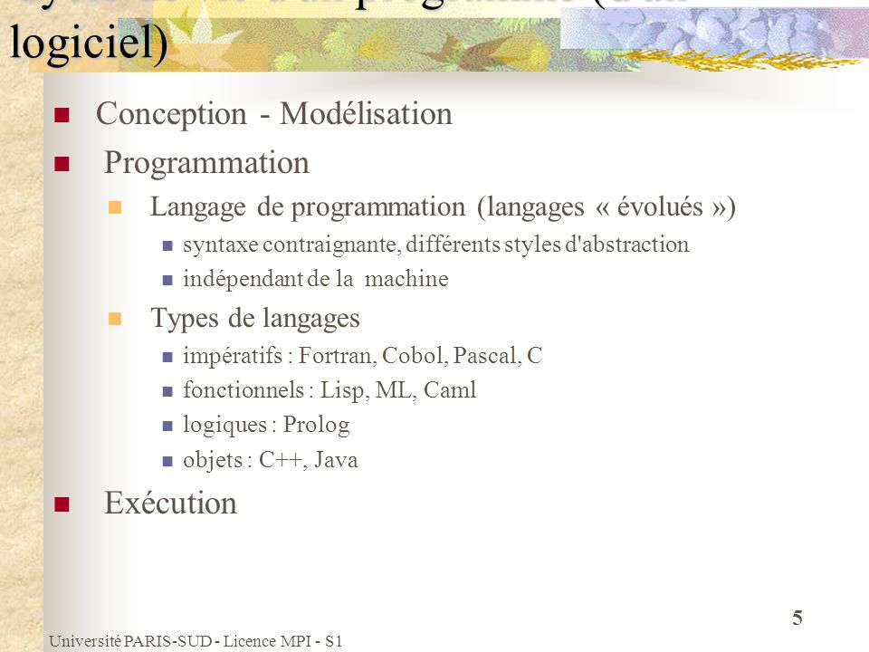 Université PARIS-SUD - Licence MPI - S1 46 Les types réels Pour manipuler les réels, C propose 2 types (dautres existent) présentés dans la table ci-dessous Les opérateurs sur les réels sont laddition +, la soustraction -, la multiplication *, la division /, les comparaisons (==, !=, >, >=, etc.) TYPEIntervalleCodageChiffres significatifs float[-2 -150, -2 128 ], 0, [+2 -150, +2 128 ] 4 octets7 chiffres décimaux double[-2 -1075, -2 1024 ], 0, [+2 -1075, +2 1024 ] 8 octets15 chiffres décimaux