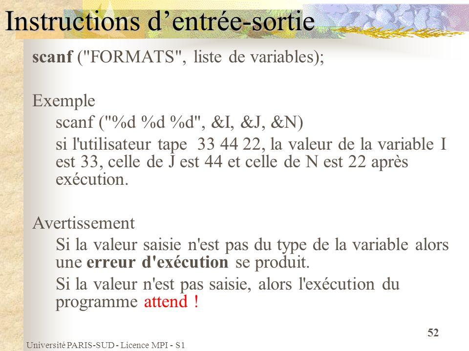 Université PARIS-SUD - Licence MPI - S1 52 Instructions dentrée-sortie scanf (