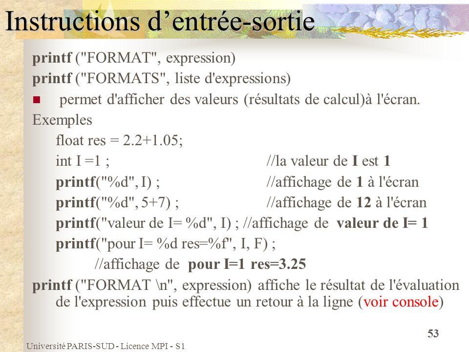 Université PARIS-SUD - Licence MPI - S1 53 Instructions dentrée-sortie printf (