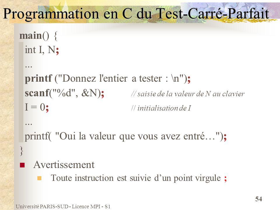 Université PARIS-SUD - Licence MPI - S1 54 Programmation en C du Test-Carré-Parfait