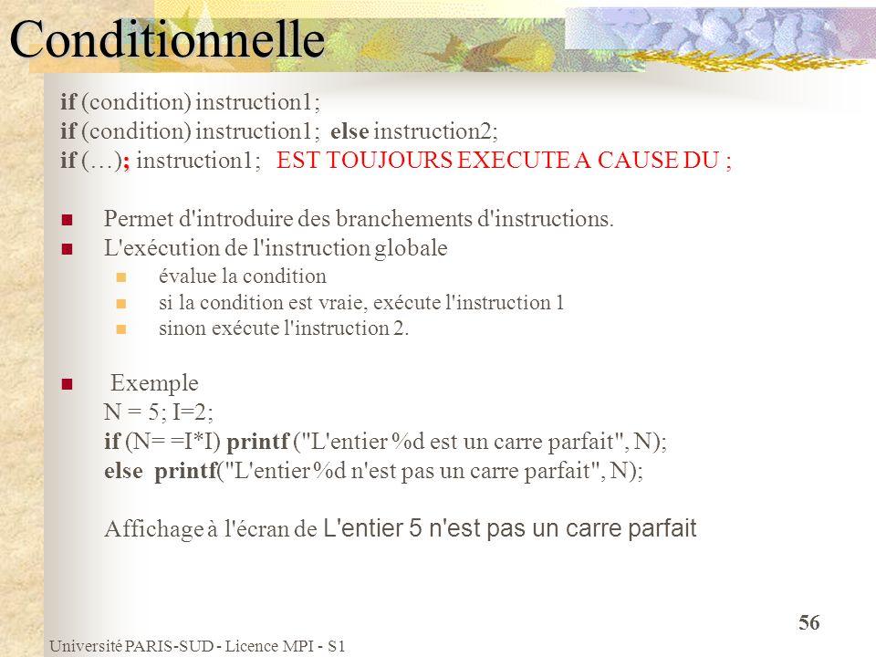 Université PARIS-SUD - Licence MPI - S1 56Conditionnelle if (condition) instruction1; if (condition) instruction1; else instruction2; ; if (…); instru