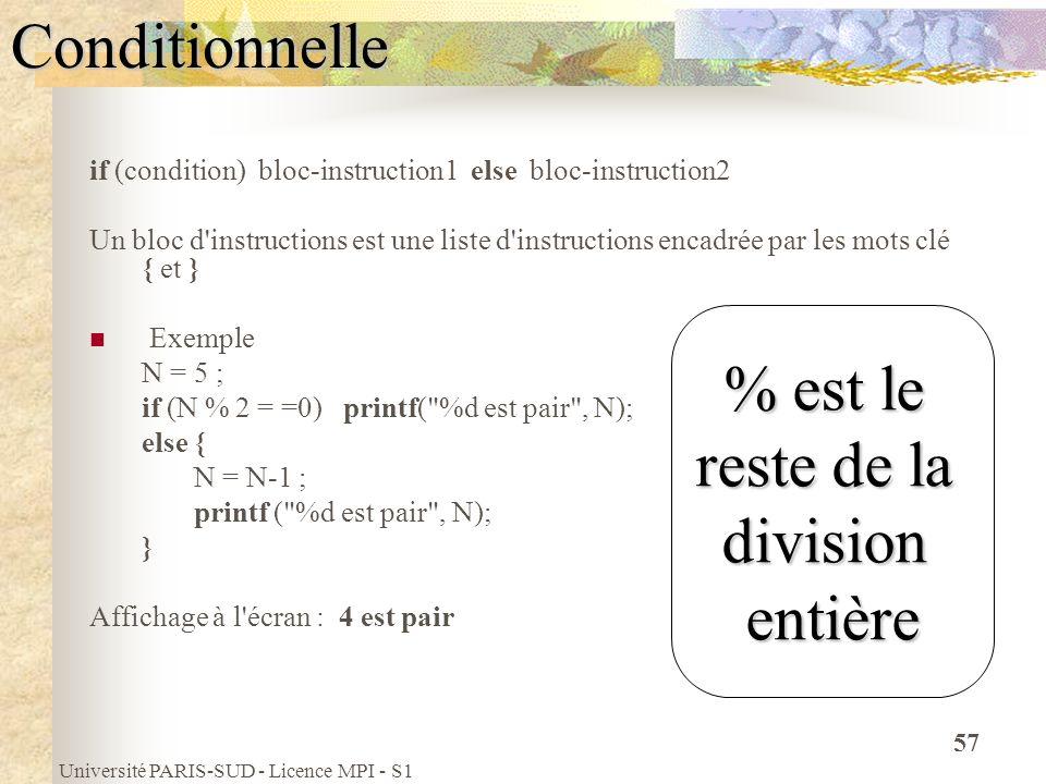 Université PARIS-SUD - Licence MPI - S1 57Conditionnelle if (condition) bloc-instruction1 else bloc-instruction2 Un bloc d'instructions est une liste