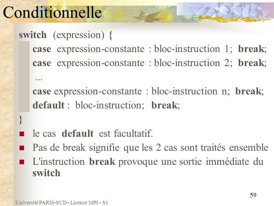 Université PARIS-SUD - Licence MPI - S1 59Conditionnelle switch (expression) { case expression-constante : bloc-instruction 1; break; case expression-