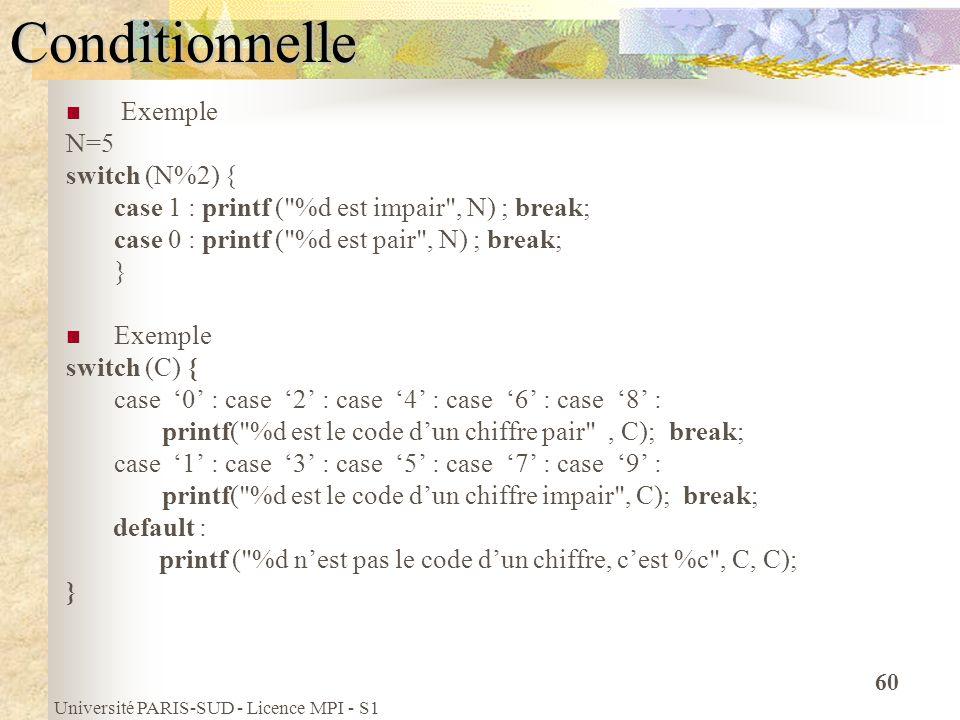 Université PARIS-SUD - Licence MPI - S1 60Conditionnelle Exemple N=5 switch (N%2) { case 1 : printf (