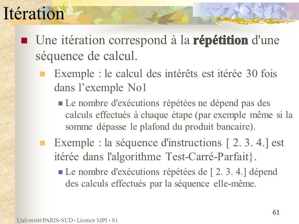 Université PARIS-SUD - Licence MPI - S1 61Itération