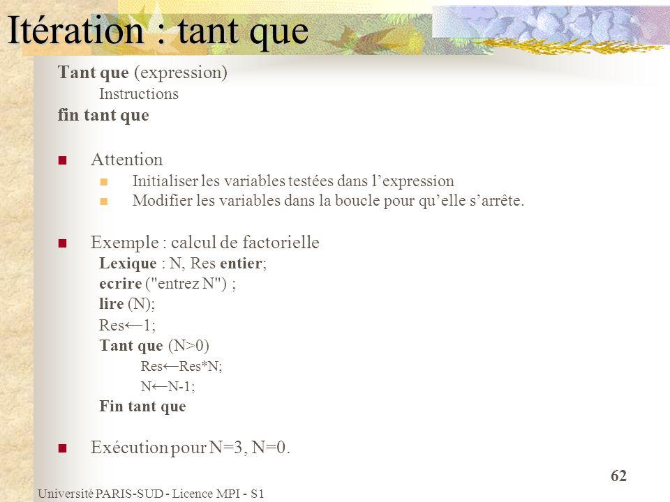 Université PARIS-SUD - Licence MPI - S1 62 Itération : tant que Tant que (expression) Instructions fin tant que Attention Initialiser les variables te