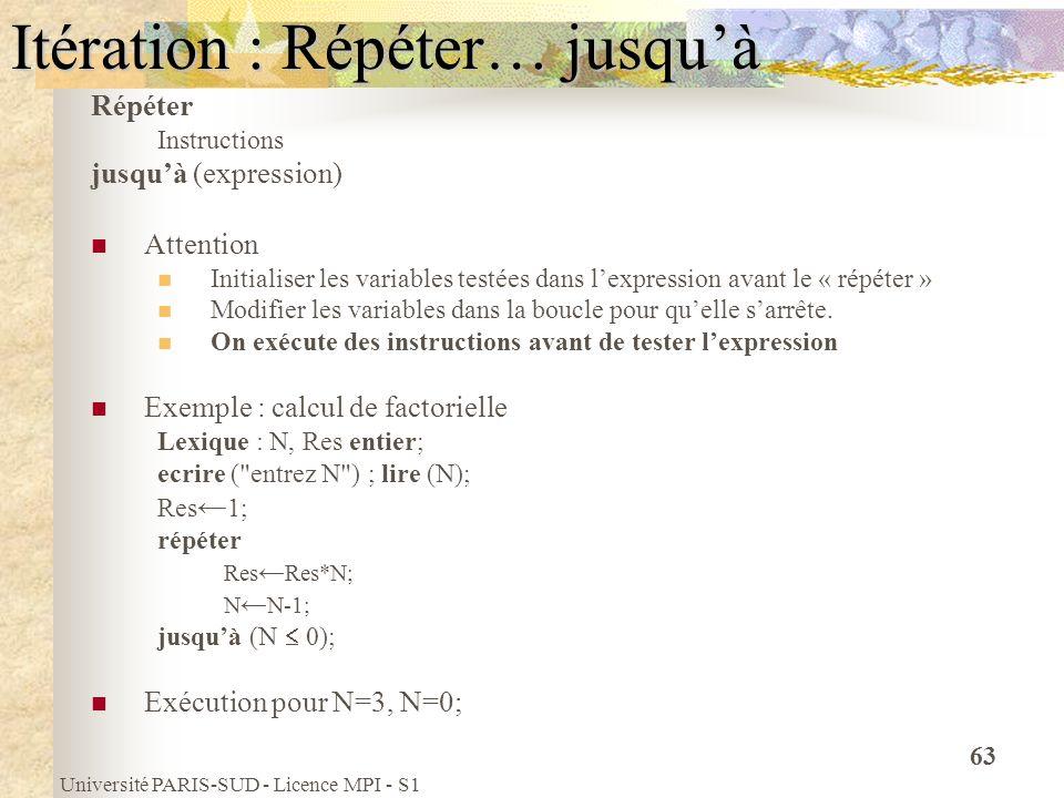 Université PARIS-SUD - Licence MPI - S1 63 Itération : Répéter… jusquà Répéter Instructions jusquà (expression) Attention Initialiser les variables te