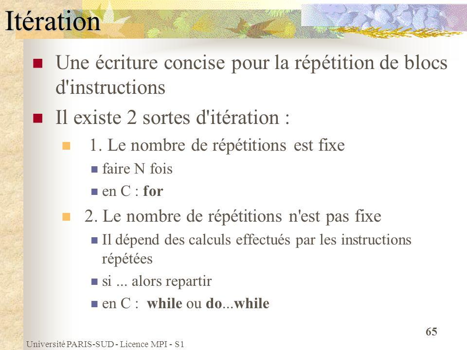 Université PARIS-SUD - Licence MPI - S1 65Itération Une écriture concise pour la répétition de blocs d'instructions Il existe 2 sortes d'itération : 1