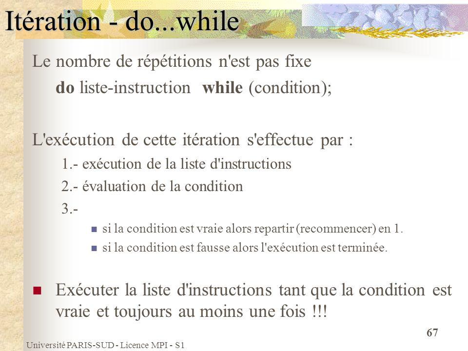 Université PARIS-SUD - Licence MPI - S1 67 Itération - do...while Le nombre de répétitions n'est pas fixe do liste-instruction while (condition); L'ex