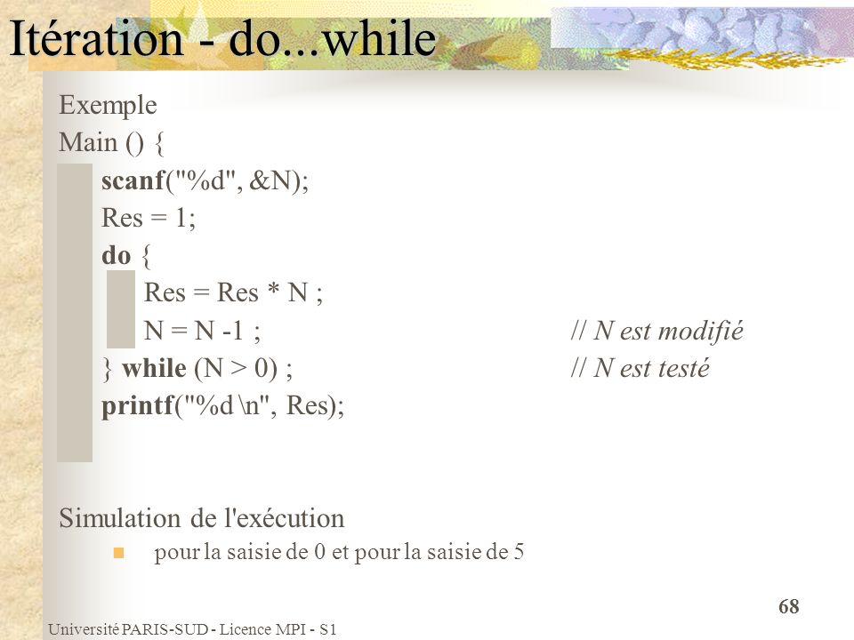 Université PARIS-SUD - Licence MPI - S1 68 Itération - do...while Exemple Main () { scanf(