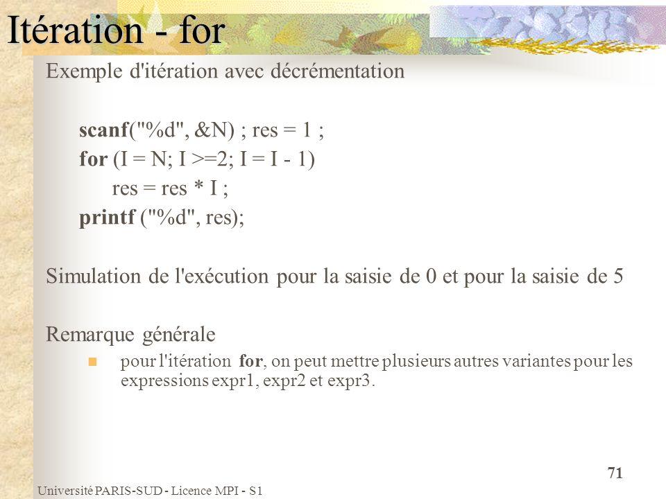 Université PARIS-SUD - Licence MPI - S1 71 Itération - for Exemple d'itération avec décrémentation scanf(