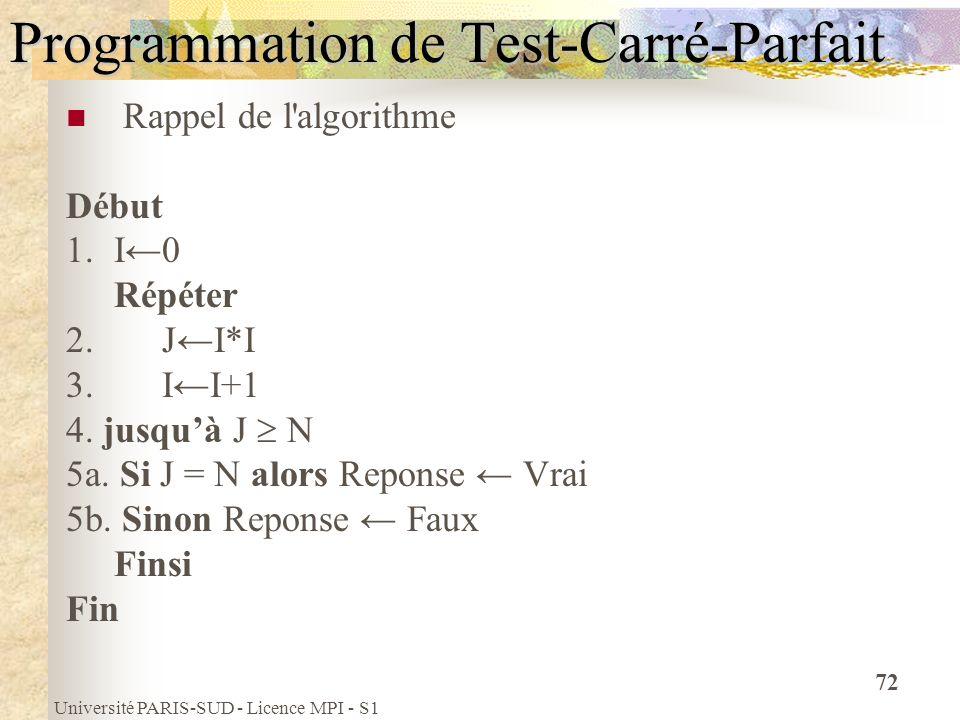 Université PARIS-SUD - Licence MPI - S1 72 Programmation de Test-Carré-Parfait Rappel de l'algorithme Début 1.I0 Répéter 2.JI*I 3.II+1 4. jusquà J N 5