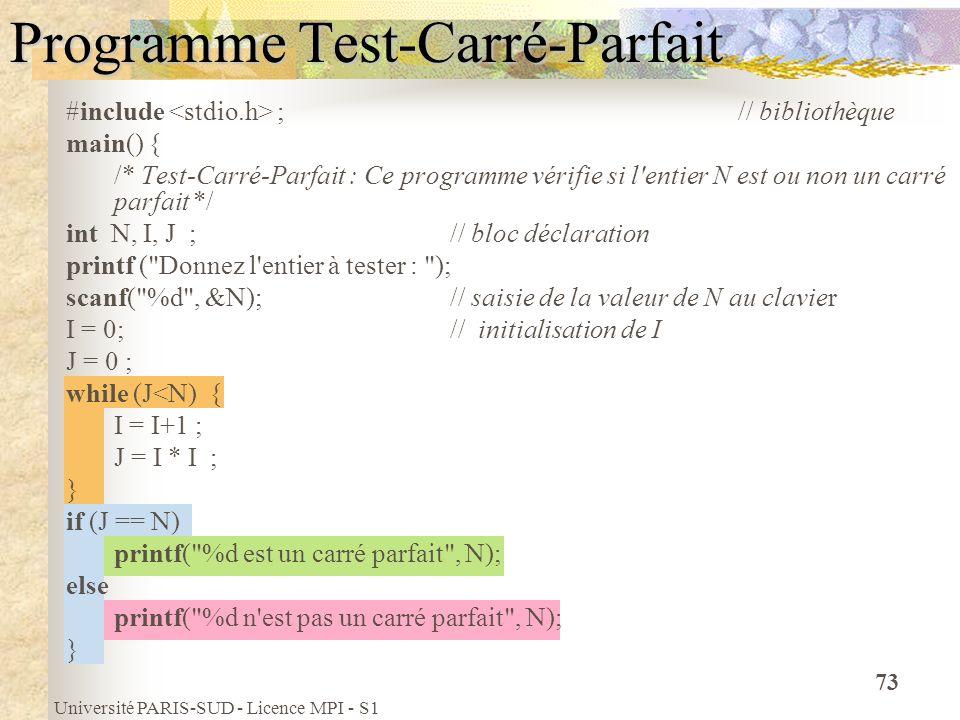 Université PARIS-SUD - Licence MPI - S1 73 Programme Test-Carré-Parfait #include ; // bibliothèque main() { /* Test-Carré-Parfait : Ce programme vérif